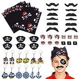 FORMIZON 48 Pezzi Set di Accessori Pirata, Pirati Tatuaggi Temporanei per Bambini, Pirata Bambini Halloween Party Costume Pirata per Bambini Bambina Ragazzi Regalo Pirati Festa di Compleanno