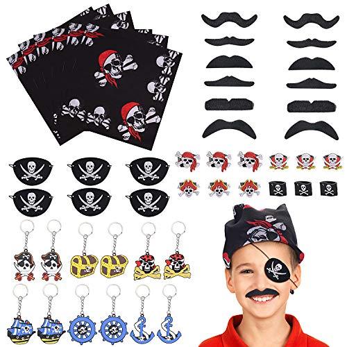 FORMIZON 48 Stück Piraten Zubehör Set, Piraten Party Mitgebsel Kinder Piratenkapitän Augenklappe Piraten Bandana Schnurrbart Piraten Ringe Schlüsselanhänger für Karneval, Halloween und Partys