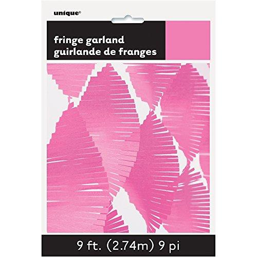 Unique Party 63637 - 9ft Hot Pink Tissue Paper Fringe Garland