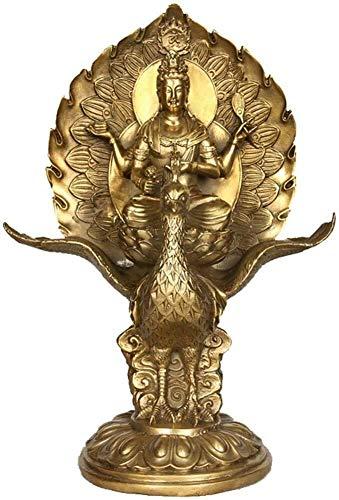 DYB Estatua de oración Budista de latón Escultura de Pavo Real Ming Adorno de estatuilla Decoración de Rey Regalo Prosperidad y atraer Salud 0825