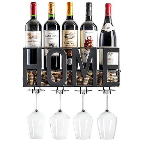 MKZ Products Wall Mounted Wine Rack   Wine Bottle Holder  Hanging Stemware Glass Holder   Cork Storage   Storage Rack   Home & Kitchen Decor (Home - Black)