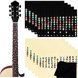 Etiquetas de Guitarra Notas Pegatina,Biluer 10PCS Pegatinas para Tabla de Trastes de Guitarra Sistema de Aprendizaje de Guitarra Con 2PCS Guitarra Paño de Limpieza para Guitarra Electrica de 6 Cuerdas