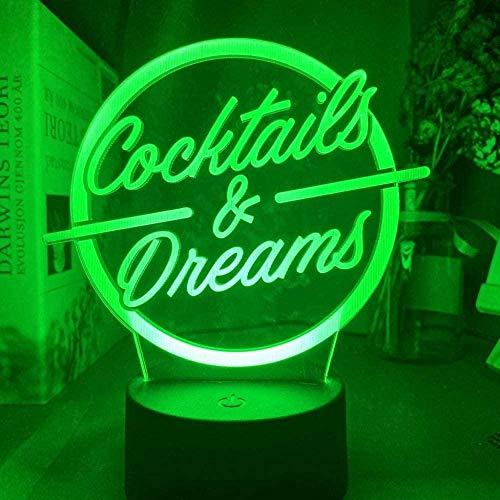 YOUPING 3D Illusionslampe LED Nachtlicht Cocktails & Träume Zeichen für Acryl Bar Dekoration Lasergravur USB Batteriebetriebene Tischlampe Farbwechsel
