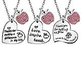 JQFEN 3 Pcs Heart Necklaces Set Gifts for Teacher Open School Graduation Gifts for Teachers Women Necklace