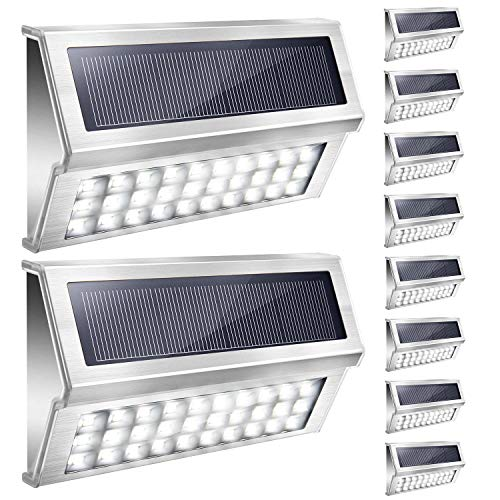 JACKYLED 10 Pack Solar Step Lights Outdoor 30 Bright LED Cool White Stainless Steel Solar Deck Lights with 1600mAH Battery Waterproof LED Fence Lights for Stair Yard (White Light)