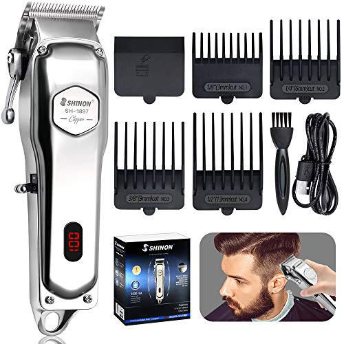 HINZER Powerful Hair Clippers for Men Hair Cutting Kit Professional Cordless Rechargeable Hair Beard Trimmers Mens Grooming Set LED Display Silver