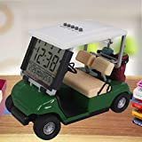 WLOOD 2020 Newest Version LCD Display Time Date and Temperature Mini Golf Cart Clock for Golf Fans Great Gift for Golfers Race Souvenir Novelty Golf Gifts (Green)