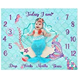 """Mermaid Baby Monthly Milestone Blanket Mermaid Fleece Blankets Baby Girls Pictures Growth Tracker Photography Background Weeks Months with Props for Newborn Infants Shower Gift (50"""" x 40"""")"""