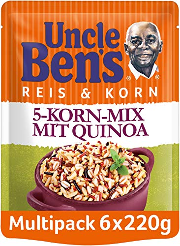 Uncle Ben's Express-Reis & Korn 5-Korn Mix mit Quinoa, 6 Packungen (6 x 220g)