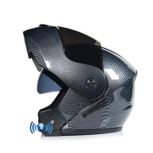 OPRG Klapphelm Motorradhelm Bluetooth Integralhelm Mit Doppelvisier Roller Damen Und Herren ECE Genehmigt,F,XL(61~62CM)