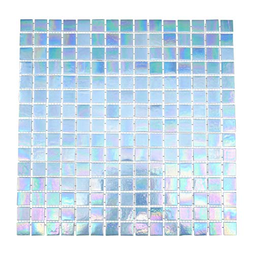 URBN Contemporary Light Sky Blue Iridescent Glass Mosaic Tile for Kitchen and Bath - Sample Tile (4-1/3 inches x 4-1/3 inches, 0.13 SQ FT)