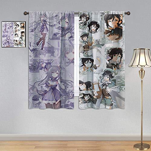 Trelemek Genshin Cortinas de impacto, cortinas opacas Vimoe Game Venti & Keqing, cortinas con bolsillo para barra para dormitorio infantil de 42 x 72 pulgadas