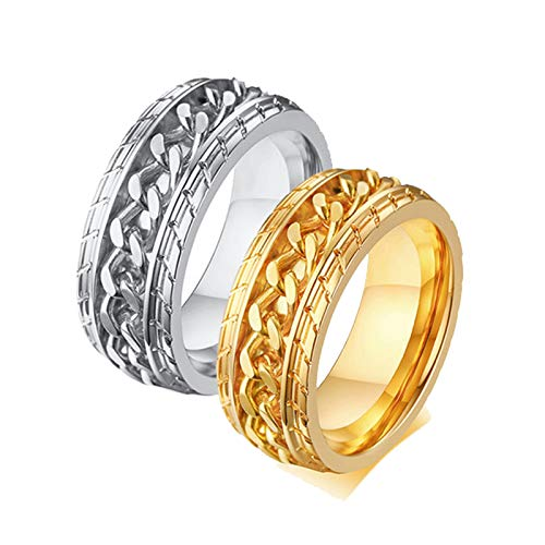Amody 1 Pair Stainless Steel Ring Engagement Wedding Band Anniversary Promise Gift for Couple Silver Gold Spinner Chain Ring Wide 8mm Women Size R 1/2 Men Size V 1/2