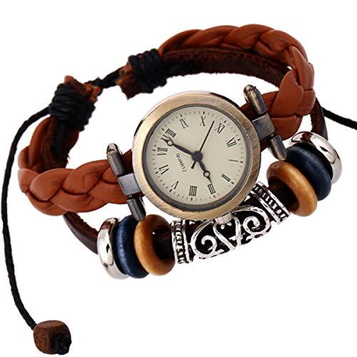 LSJO Pulseras Ajustables Personalizadas para Brazalete Unisex Brazalete Tejido Cinturón De Cuero Pulsera Tribal Trenzado Cuerda con Cuentas Reloj