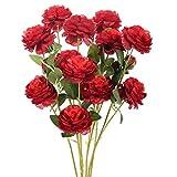 NAHUAA 6 pcs Flores Artificiales Ramo de Rosas Rojas para Decoración de Fiesta de Boda jardín hogar Dormitorio Oficina Cocina Balcón Hotel