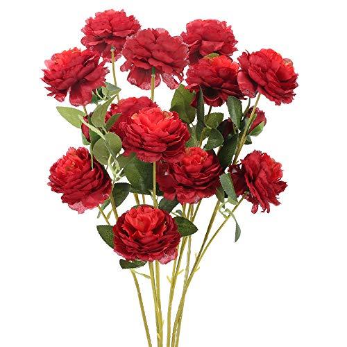 NAHUAA 6pcs Künstliche Blumen Deko Kunstblumen Rot Pfingstrose Plastikblumen Künstlich Dekoblumen Unechte Blumen Kunstpflanzen für Balkon Garten Innen Außenbereich Frühling Topf Vase Dekoration