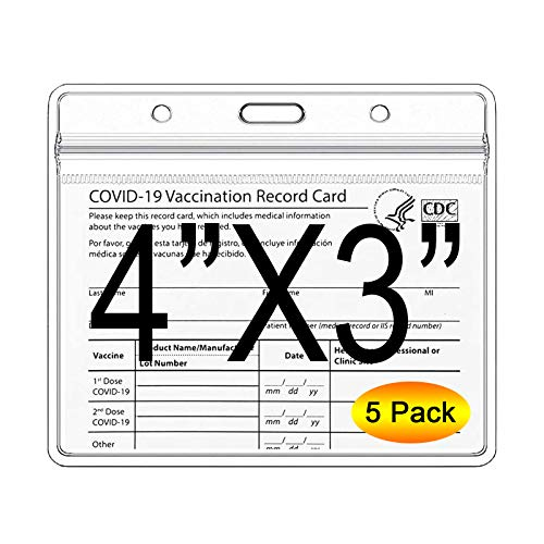 CDC Vaccination Card Protector - 4X3 Inches Immunization Record Vaccine Cards Case, Vaccine ID Card Name Tag Badge Holder Clear Vinyl Plastic Sleeve with Waterproof Type Resealable Zip - 5 Pack