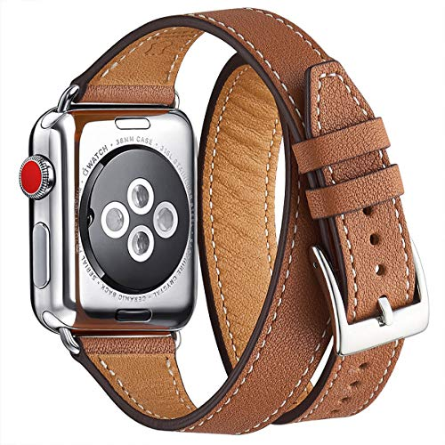 WFEAGL Kompatibel mit Watch Armband 38mm 40mm 42mm 44mm Double, Slim Doppelter Kreis Leather Ersatzband mit Edelstahl-Verschluss für Watch Serie 5/4/3/2/1(38mm 40mm,Braun/Silber)