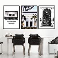 ウォールアートファッションアブストラクトブラックホワイトレターヒールフェザーカメラキャンバス絵画建物ポスターリビングルーム用写真プリント-(50x70cm)X3フレームなし