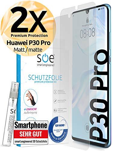 [2 Stück] Entspiegelte 3D Schutzfolien kompatibel mit Huawei P30 Pro - [Made in Germany - TÜV Nord] - Bildschirmschutz-Folie - Hüllenfre&lich – Matt – kein Schutz-Glas sondern Panzer-Folie TPU