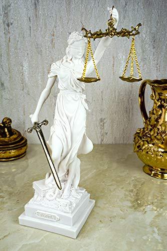 Kremers Schatzkiste Alabaster Justitia Göttin Figur Skulptur weiß Gold BGB Recht Gerechtigkeit 32 cm