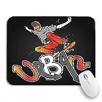 ECOMAOMI 可愛いマウスパッド ジーンズとスニーカーの少年スケータースケートボードストリートカルチャーノンスリップラバーバッキングノートパソコン用マウスパッドマウスマット