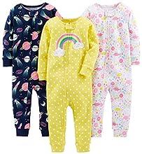 Simple Joys by Carter's - Pijamas enteros - para bebé niña multicolor Dinosaur, Space, Rainbow 12 Months