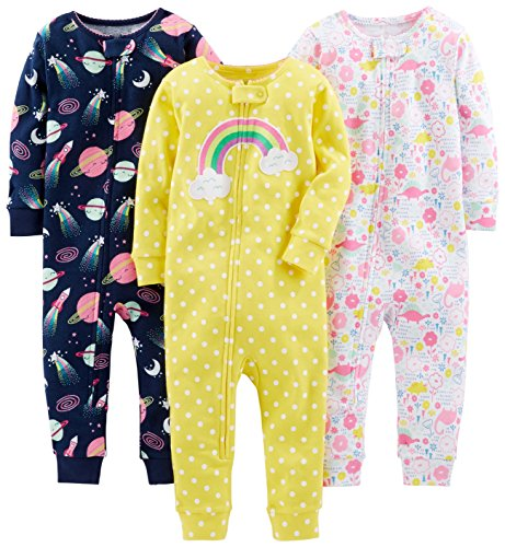 Simple Joys by Carter's Baby Girls' 3-Pack Snug Fit Footless Cotton Pajamas, Dinosaur, Space, Rainbow, 24 Months