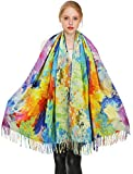 Longwu Winter Scarf 100% Cashmere Pashmina Shawl Wraps Soft Warm Blanket Scarves for Women -Colorful