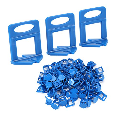 Sistema de nivelación, clips de plástico azul Azulejos de pared azulejos nivel suelo espaciadores para azulejos de nivelación sistema Clip para suelos y paredes 100pcs