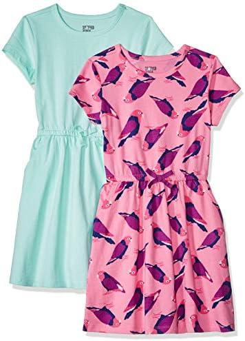 Spotted Zebra Girls Kids Knit Short Sleeve Cinch Waist Dresses 2 Pack Birds Aqua Large product image