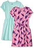 Spotted Zebra Girls' Knit Short-Sleeve Cinch-Waist Dresses, 2-Pack Birds/Aqua, Small