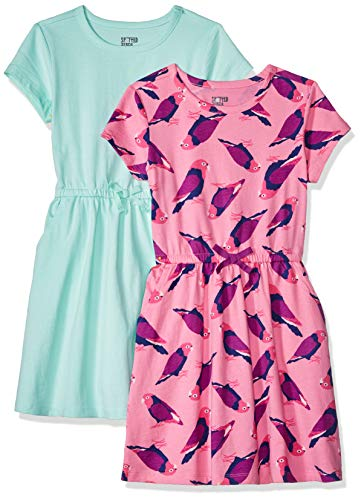 Amazon Brand - Spotted Zebra Kids Girls Knit Short-Sleeve Cinch-Waist Dresses, 2-Pack Birds/Aqua, Medium