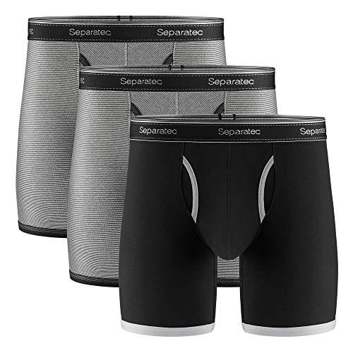 Separatec Men's Underwear Comfort Soft Cotton Boxer Briefs 3 Pack(XL,Black/Black Stripe2)