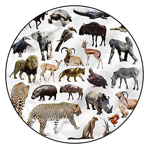 3D Printed Pattern Area Rugs Carpets,3' Round,Leopard Wildlife Creatures Floor Carpet with Non Slip Backing for Bedroom Livingroom Dorm Kids Room Indoor Home Decorative