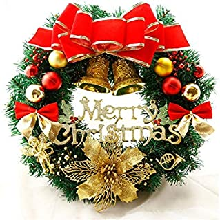 Christmas Party Flower Christmas Wreath Door Hanging Ornaments Room Christmas Tree Pendants for Decoration(Golden and Red)