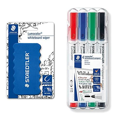 STAEDTLER 652 BK Borrador para pizarra + Lumocolor 341 WP4. Rotuladores de colores para pizarra blanca. Estuche de 4 unidades, Más Colores