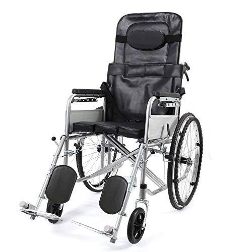 IOFESINK Walker Chair Wheelchair Silla de Ruedas Plegable Silla de Ruedas portátil, Completamente reclinable, con cinturón de Seguridad, Dispositivo liviano de Movilidad for Personas Mayores, y