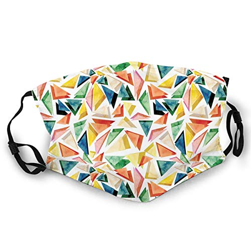 MultifunktionaleGesichtsschutzhülle,Triangle Pattern with Rainbow Color Palette Abstract Colorful Aquarelle Design,BandanaBedruckteUnisexWaschbareWiederverwendbareGesichtsdekorationen