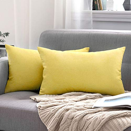 MIULEE Outdoor Waterproof Throw Pillow Covers Water Resistant Garden Chair Cushion Case for Front Porch Patio Couch Pet Sofa Cotton Linen Home Decoration 12X20 Inches 30X50cm Pack of 2 Yellow