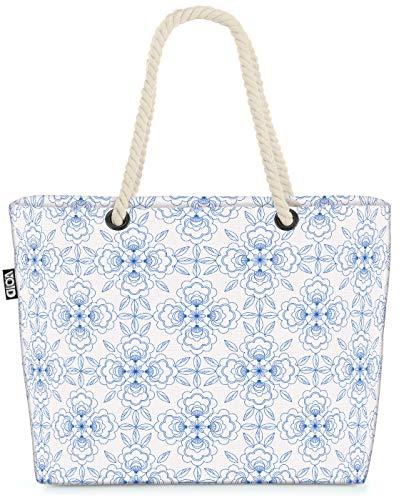 VOID Blumen Fliese Strandtasche Shopper 58x38x16cm 23L XXL Einkaufstasche Tasche Reisetasche Beach Bag