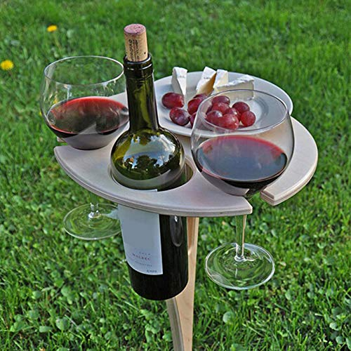 ZS ZHISHANG Outdoor Portable Wine Table with Foldable Round Desktop Mini Wooden Picnic Table Easy to Carry