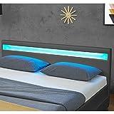 Juskys LED Polsterbett Lyon mit Bettkasten 140 x 200 cm – Bettgestell mit Lattenrost - Kunstleder – grau – Jugendbett Jugendzimmer Möbel - 5
