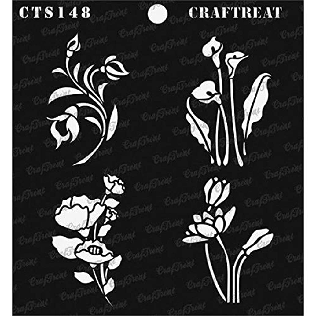 CrafTreat Stencil - Mini Floral Bunches | Reusable Painting Template for Journal, Notebook, Home Decor, Crafting, DIY Albums, Scrapbook and Printing on Paper, Floor, Wall, Tile, Fabric, Wood 6