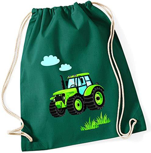 Stoffbeutel für Jungen | Motiv Traktor Bulldog mit Wolken & Gras | Schuhbeutel Sportbeutel zum Zuziehen für Kinder | Turnbeutel mit Kordel in blau grau grün (dunkelgrün)