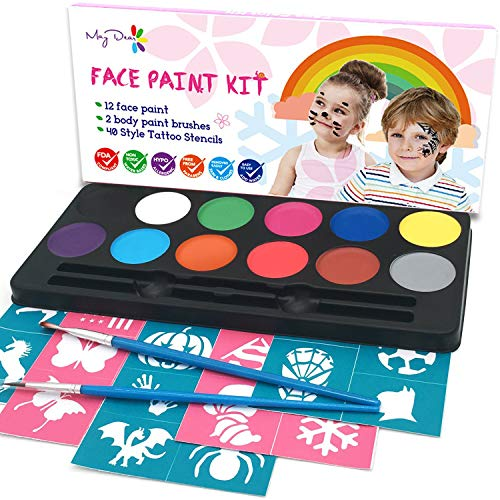 Maydear Face Painting Kit for Kids with 12 Colors Safe and Non-Toxic Water Based Face Paint palette, 40 Stencils and 2 Brushes