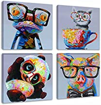 Animal Picture Wall Art Modern Lovely Panda Happy Frog with Glasses Artwork Cartoon Images Oil Painting Print on Canvas for Kids Room Living Room Decoration
