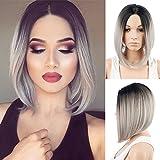 Royalvirgin Parrucca da donna con capelli sintetici di alta qualità e alla moda, taglio carré, resistente al calore, colore in due toni da nero a grigio