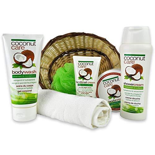 Reimarom Handverpacktes Wellness Geschenkkorb Kokos Creme mit Kokos Duschgel sowie Bodylotion und Peelingschwamm
