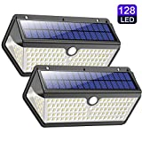 Solar Lights Outdoor, Wireless 128 LED Motion Sensor Lights IP65 waterproof Security Wall